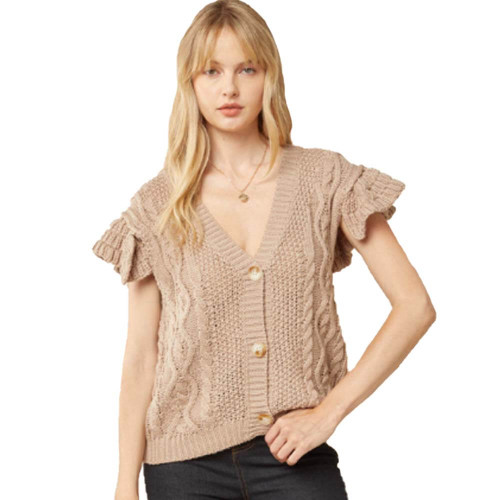 Women's Entro V-Neck Button Up Sweater Front TAUPE