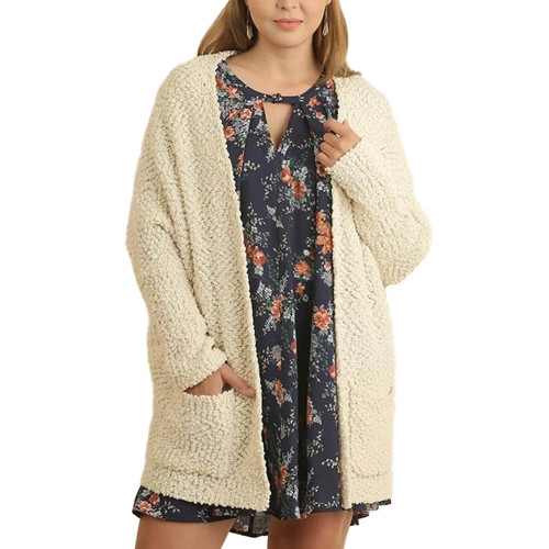 Women's Umgee Plus Size Open Front Cream Cardigan
