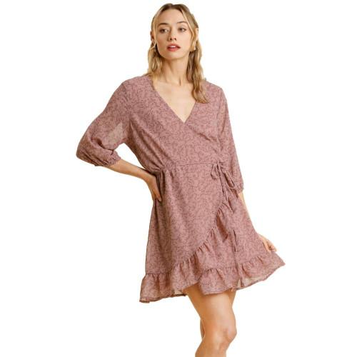 Women's Umgee Floral Wrap Dusty Pink Dress