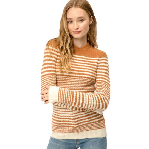 Women's Mystree Shimmery Stripe Rust Sweater