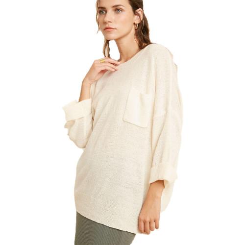 Women's Wishlist Rolled Up Sweater Front CREAM