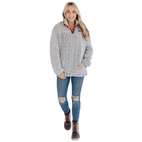 Women's Simply Southern Gray Sherpa Pullover