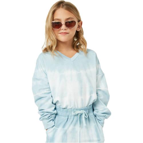 Girls' Hayden Tie-Dye V-Neck Top BLUEMIX
