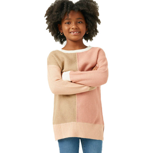 Girls' Hayden Colorblock Paneled Sweater Front Mauve