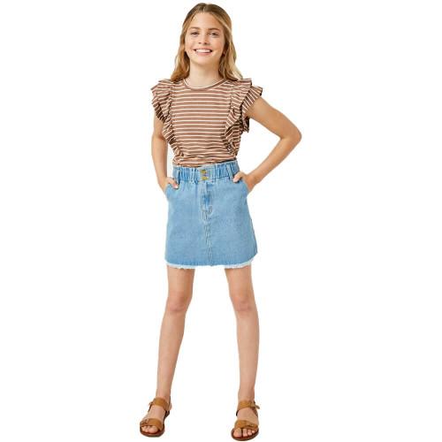 Girls' Hayden Layered Ruffle Stripe Top BROWN