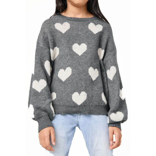 Girls' Hayden Knit Heart Sweater Front CHARCOAL