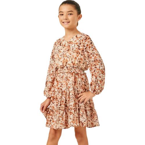 Girls' Hayden Floral V-Neck Dress Front BROWN