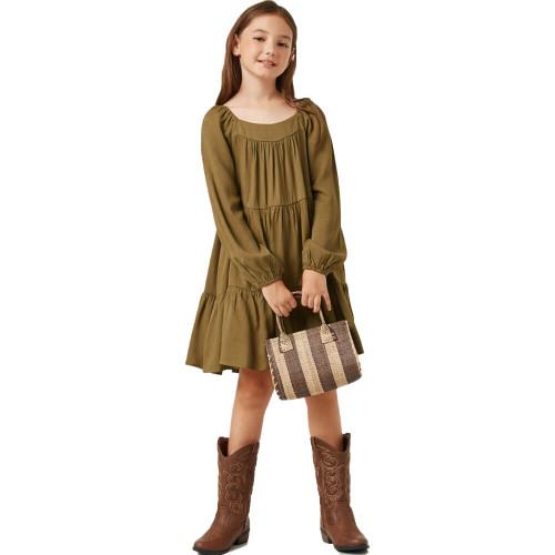 Girls' Hayden Square Neck Tiered Dress Front OLIVE