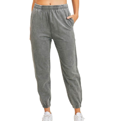 Women's Mono B Mineral Washed Joggers Front URBANCHC