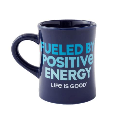LIfe is Good Positive Energy Diner Dark Blue Mug