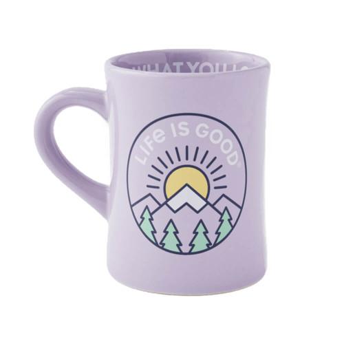 Life Is Good LIG Mountain Sunrise Diner Moonstone Purple Mug