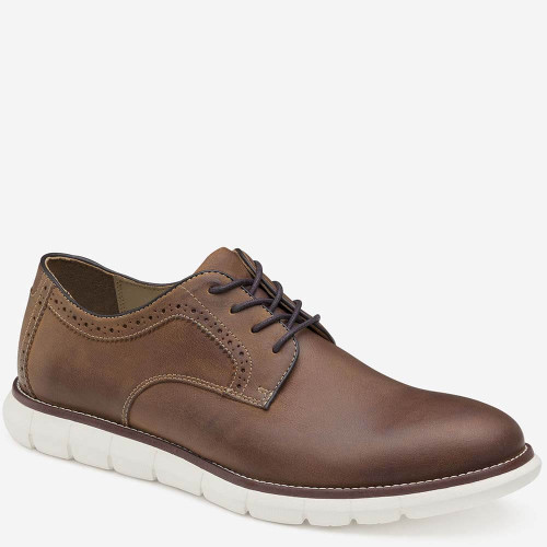 Johnston & Murphy Holden Plain Toe Dress Shoe - Tan Oiled Full Grain