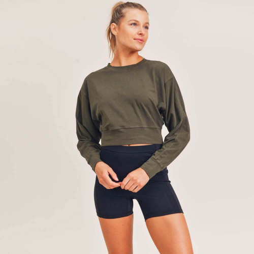Women's Mono B Pima-Blend Long Sleeve Cropped Top Front OLIVE21