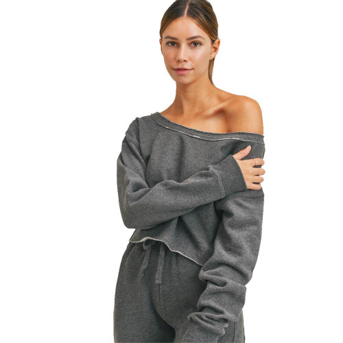 Women's Mono B Cropped Boat Neck Top Front GREY