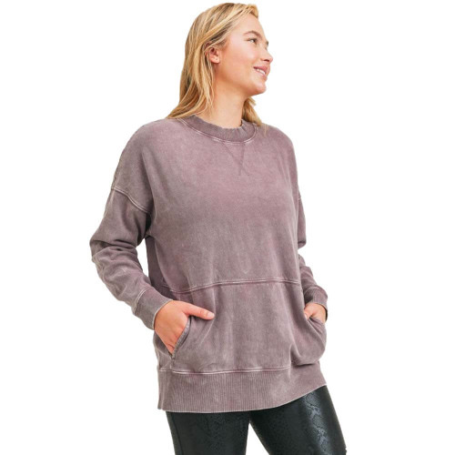 Women's Mineral Washed Fleece Longline Pullover Front BARK