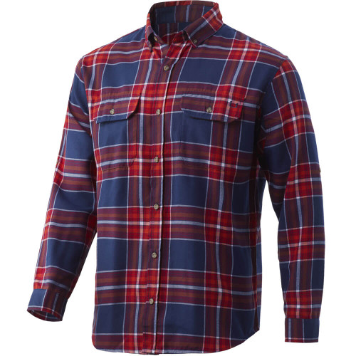 Men's Huk Maverick Fishing Flannel Button Down 603BloodRed Front