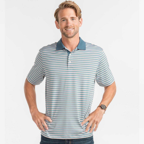 Men's Southern Shirt Anderson Stripe Polo Blue Clay