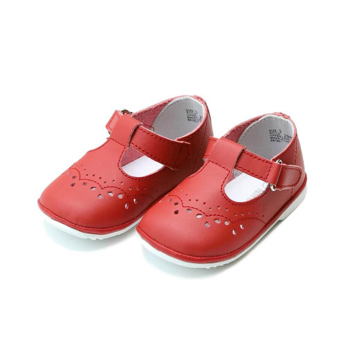 Girls' L'Amour Birdie Leather T-Strap Mary Jane Red Shoe