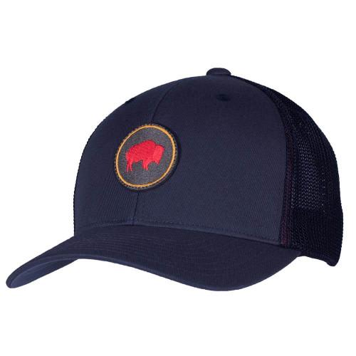 Men's Mountain Khakis Bison Patch Trucker Crater Navy Cap