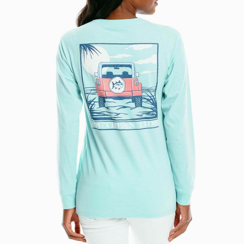 Women's Southern Tide Long Sleeve Off-Road Sunset Tee - Turquoise Sea