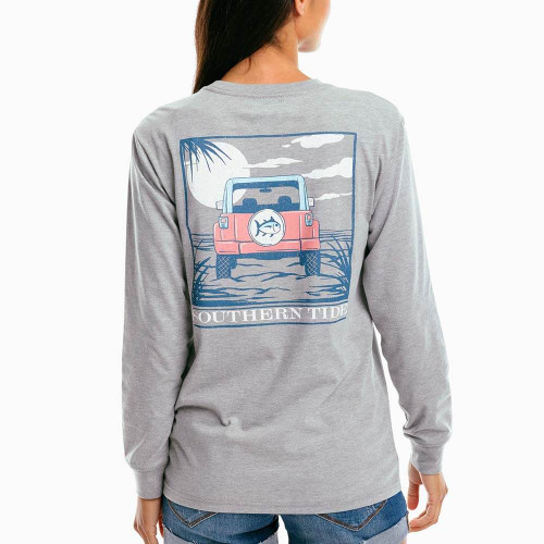 Women's Southern Tide Long Sleeve Off-Road Sunset Tee - Heather Gray