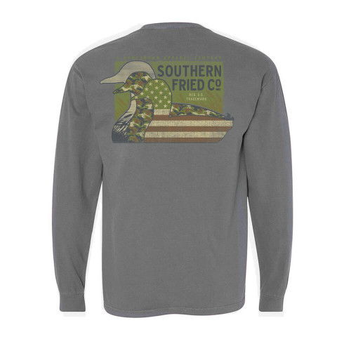 Men's Southern Fried Cotton Long Sleeve Duck Silhouettes Tee - Granite Back