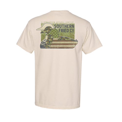 Men's Southern Fried Cotton Short Sleeve Duck Silhouettes - Ivory Back