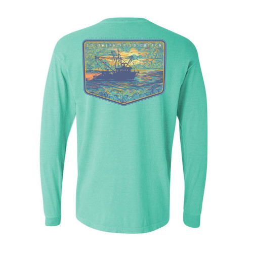 Men's Southern Fried Cotton Long Sleeve The Salty Sea Tee - Chalky Mint Back