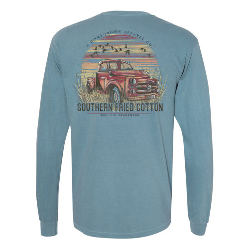 Men's Southern Fried Cotton Long Sleeve Southern Truck In The Field Tee - Ice Blue Back