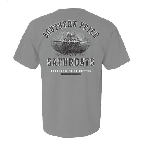 Men's Southern Fried Cotton Short Sleeve Southern Fried Saturdays Tee - Granite Back
