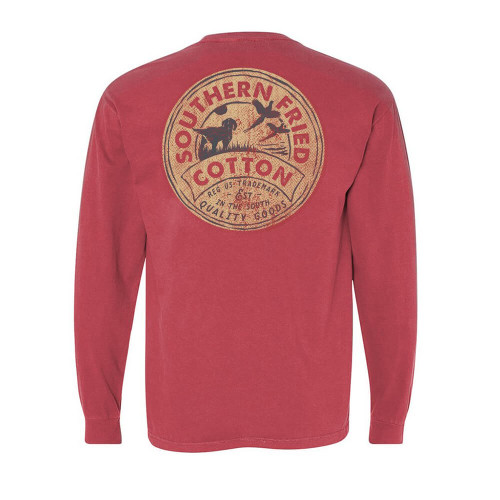 Men's Southern Fried Cotton Long Sleeve In The Tall Grass Tee - Crimson Back