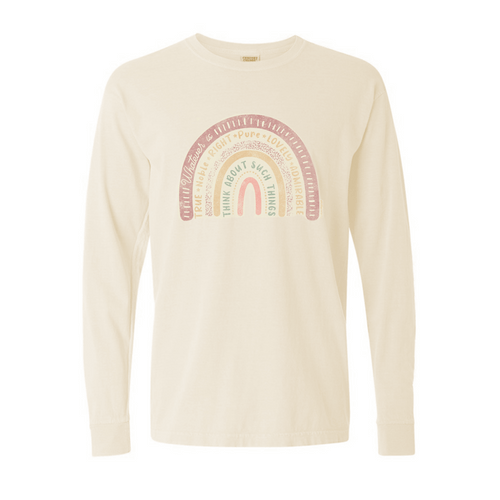 Women's Southern Fried Long Sleeve Rainbow Tee - Ivory Front