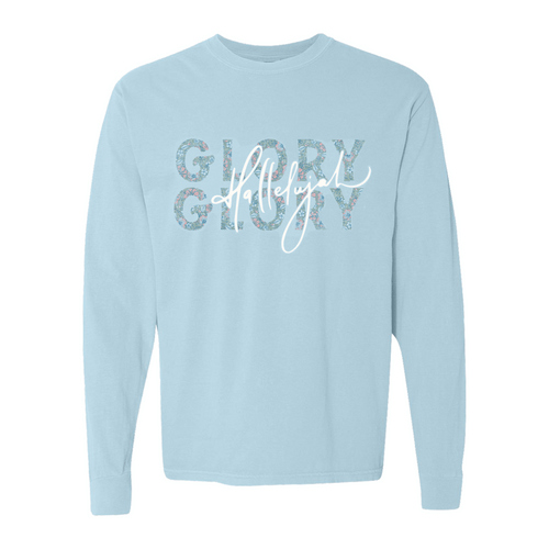 Women's Southern Fried Long Sleeve Glory Hallellujah Tee - Chambray Front