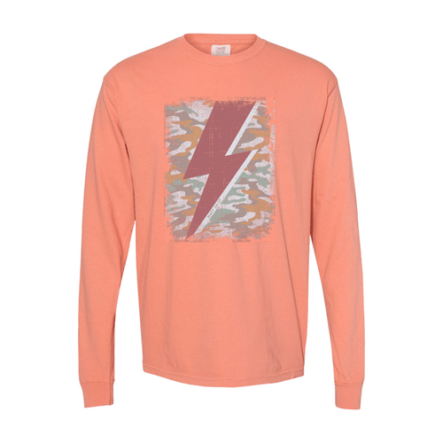 Women's Southern Fried Long Sleeve You Will Know Camo Tee - Mauve Front