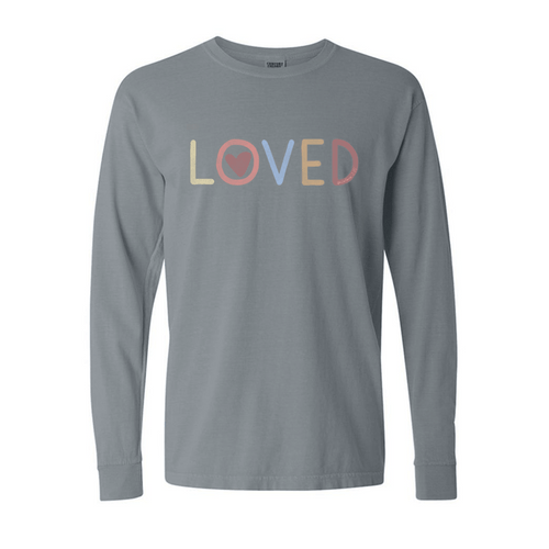 Women's Southern Fried Long Sleeve Loved Tee - Grey Front
