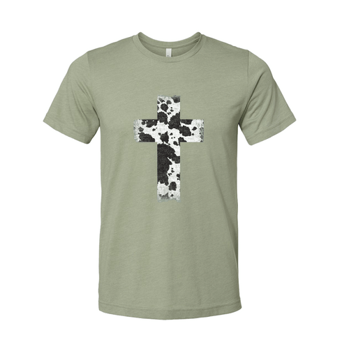 Women's Southern Fried Short Sleeve Big Cross Cow - Sage Front