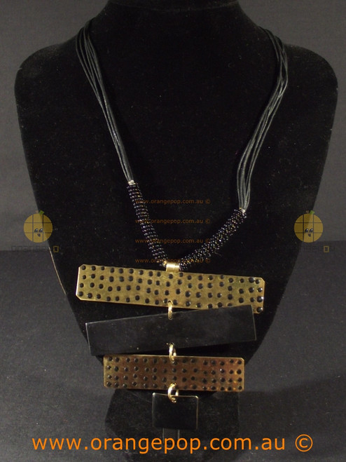 Abstract gold and black necklace