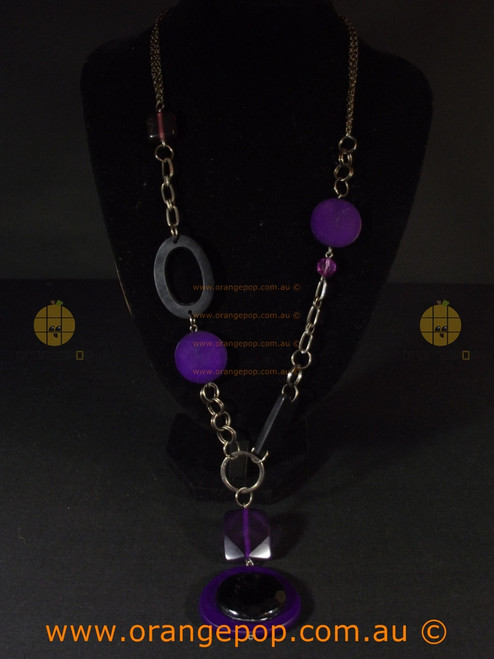 Abstract women's purple and black necklace