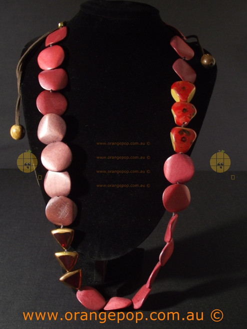 Abstract reds women's necklace