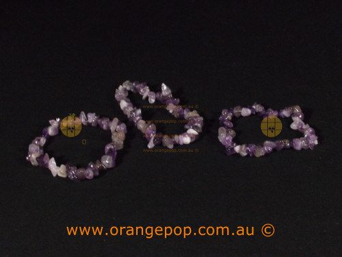 Set of three Amethyst colour bracelets