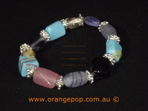 Mixed colour blues, black bracelet
