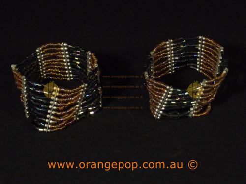 Set of 2 brown/black beaded bracelets