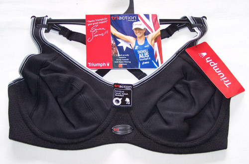 Triumph TriAction Black Sports Minimiser Bra - Ladies - New with tags
