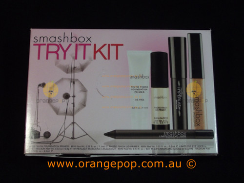 Smashbox Try It Kit, Photo Finish, Lid Primer, Hyperlash, Gloss, Limitless Eyeliner