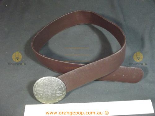 Big buckle brown leather look Women's Ladies Fashion Belt