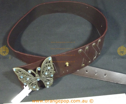 Big Butterfly buckle Brown Leather Women's Ladies Fashion Belt