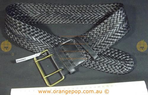 Black braided wide Women's Ladies Fashion Belt
