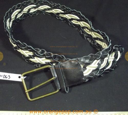 Black & cream leather braidedWomen's Ladies Fashion Belt
