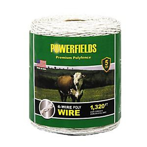 Powerfields 6-Wire Poly Wire 1,320 FT, White