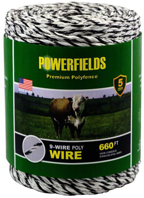 Powerfields 9-Wire Poly Wire, White/Black